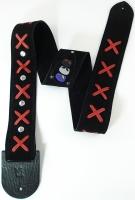 Δερμάτινη ζώνη κιθάρας Minotaur Hendrix black & red x